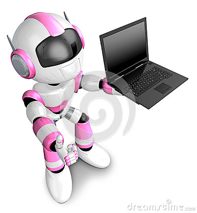 Pink Robot holding a laptop