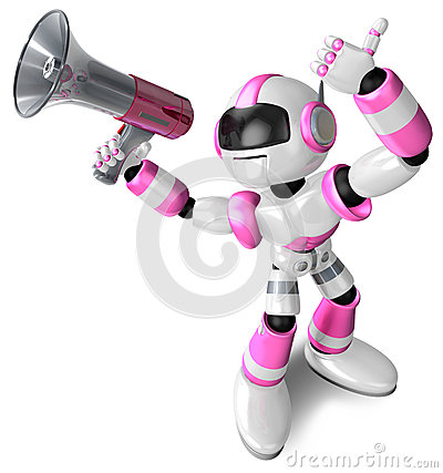 The pink robot in to promote Sold as a loudspeaker