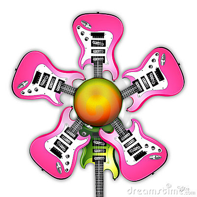 Pink Rock Guitar Flower