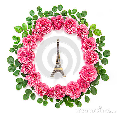 Free Pink Rose Flowers Eiffel Tower Paris Flat Lay Royalty Free Stock Photos - 84546008
