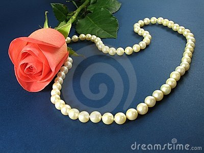 Pink rose and pearls