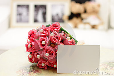 Pink Roses with Blank Note