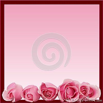Pink Roses Border Frame Bottom