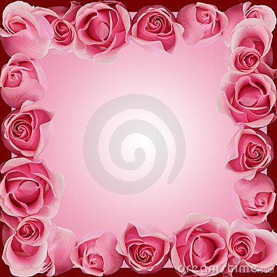 Pink Roses Border Frame Top Side Bottom