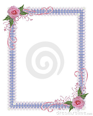 Pink roses country Invitation border