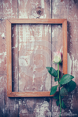 Pink roses and a wooden frame