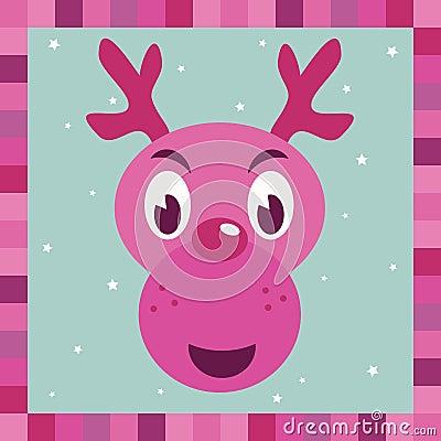 Pink rudolph reindeer decoration