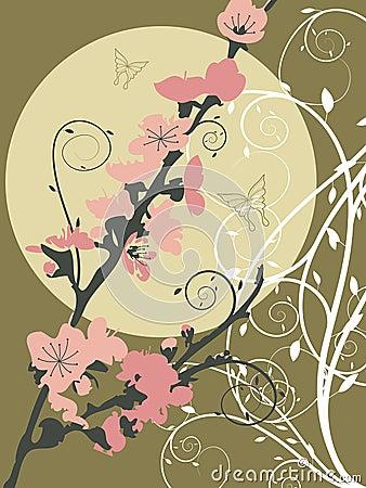 Pink sakura moon swirl