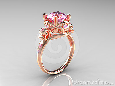 Pink Sapphire Rose Gold Vintage Engagement Ring