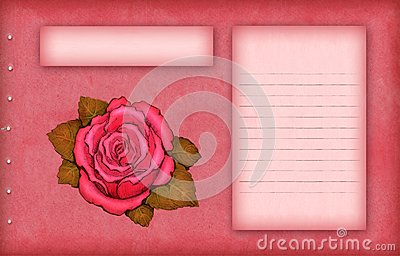 Pink scrap paper with rose