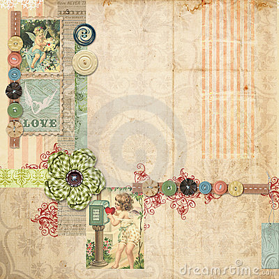 Pink Scrapbook layout with vintage embellishments