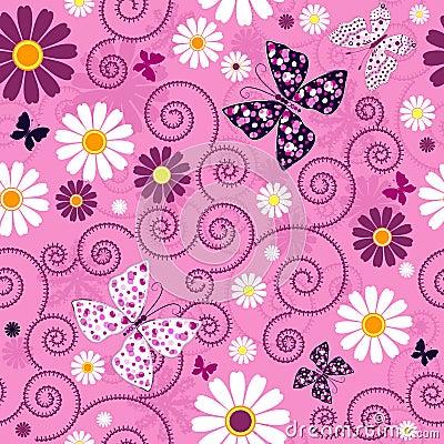 Pink seamless floral pattern