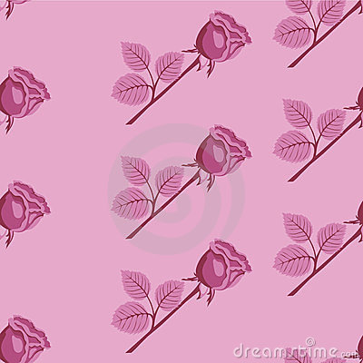 Pink seamless vector rose pattern.