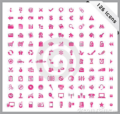 Pink set of 126 shiny icons