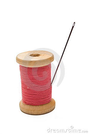 Pink sewing and steel needle