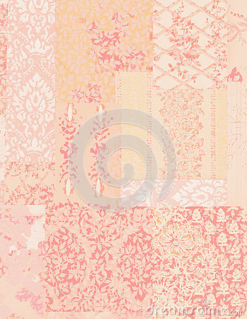 Pink Shabby Chic Vintage Floral Wallpaper Background Stock Photo