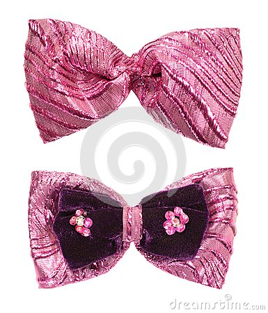 Pink shine bow tie isolated