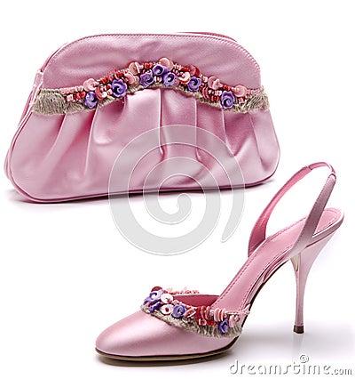 pink shoe and bag stock photos image 27763503
