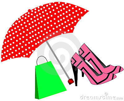 Pink shoes and bag under the umbrella