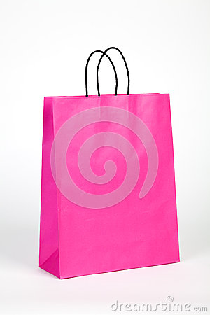 Pink shopping bag.