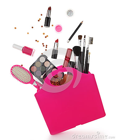 Free Pink Shopping Bag With Various Cosmetics Royalty Free Stock Photo - 38278535