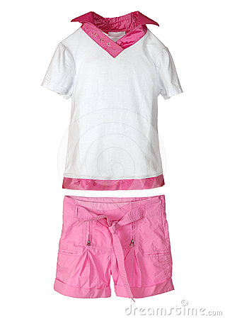Pink shorts and t-shirt