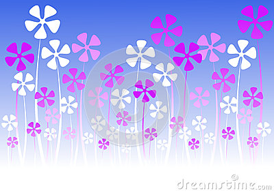Pink silhouette flowers greeting card