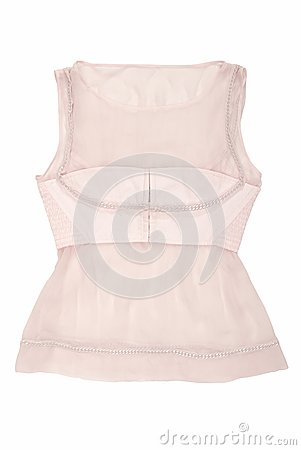 Pink silk blouse is on white background.