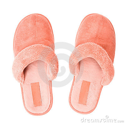 Pink slippers top view