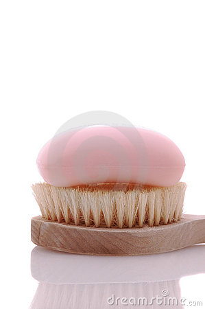 Pink Soap on Brush
