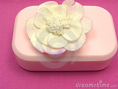 Pink soap with decoration