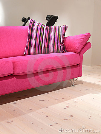 Pink Sofa and Pillow