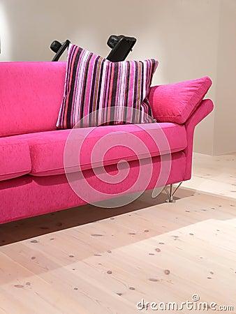 Pink Sofa and Pillow