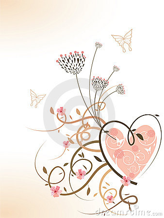 Free Pink Spring Floral Heart Swirls Stock Image - 4593521