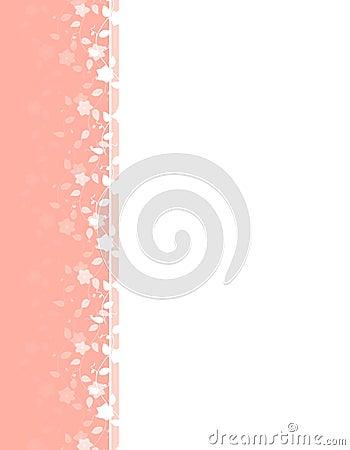 Pink Spring Flower Vine Left Border
