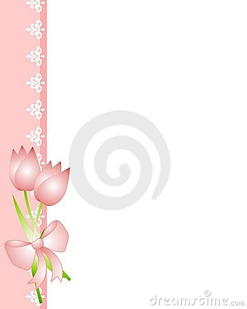 Pink Spring Tulips and Lace Border