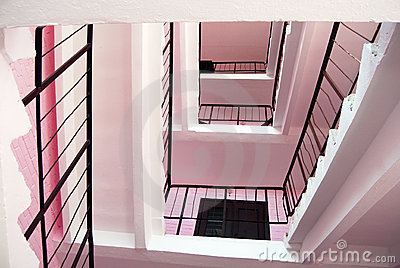 Pink stairs.