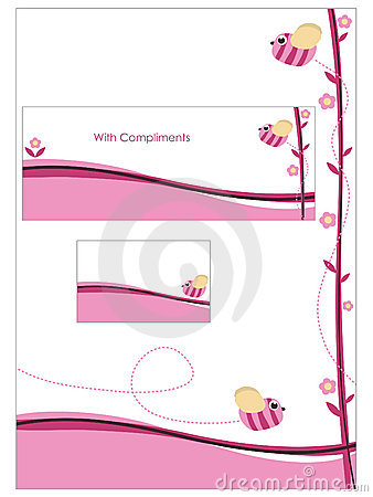 Pink stationery set
