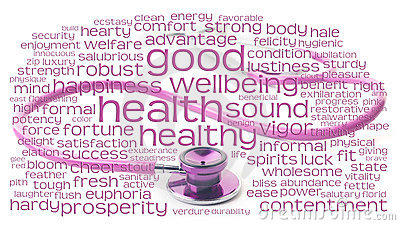 Pink stethoscope and health wordcloud