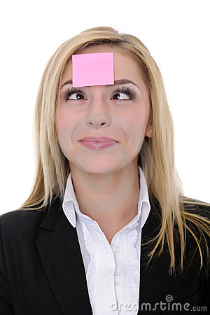 Pink sticky note on woman face
