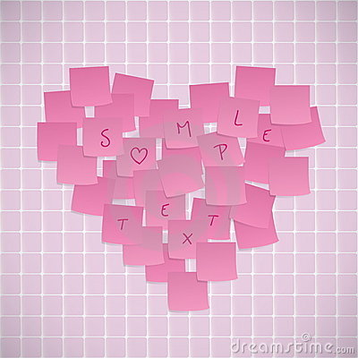 Pink Sticky Notes Shaped Into A Heart