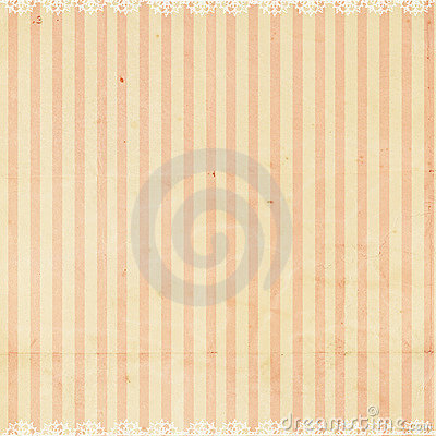 Pink striped background with lace trim