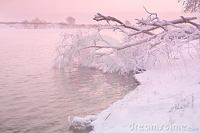 Pink sunrise on winter river