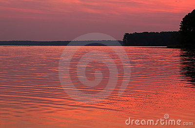 Pink sunset over water