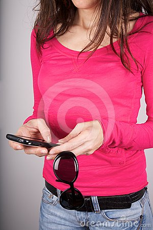 Pink sweater woman typing