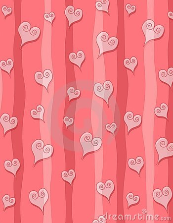 Pink Swirl Hearts Stripes