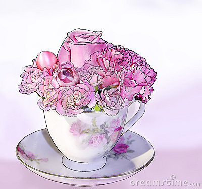Free Pink Teacup Bouquet Stock Images - 4658354