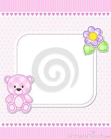 baby shower place cards template - pink teddy bear card stock vector image 56900875