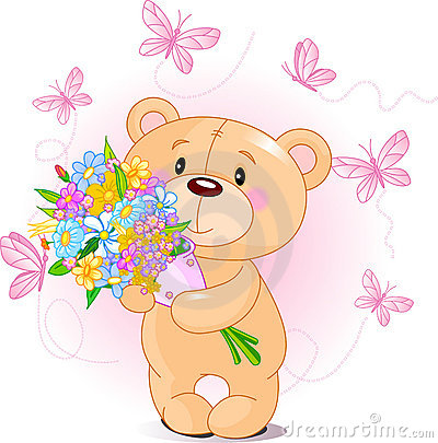 Free Pink Teddy Bear With Flowers Royalty Free Stock Images - 18072849