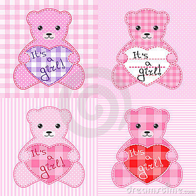 Pink teddy bears cards